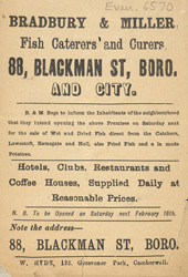 Advert For Bradbury And Miller, Fishmonger